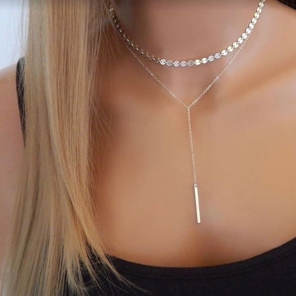 967a797e3c1a BOHO STYLE Layered Reflective Choker Bar Necklace!